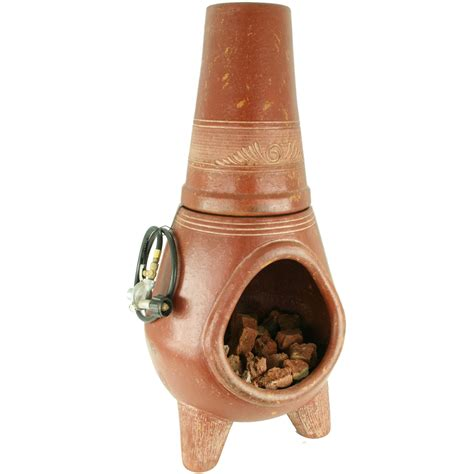 chiminea lowes shop pr imports 42 in h x 18 5 in d x 18 5 in w cafe clay