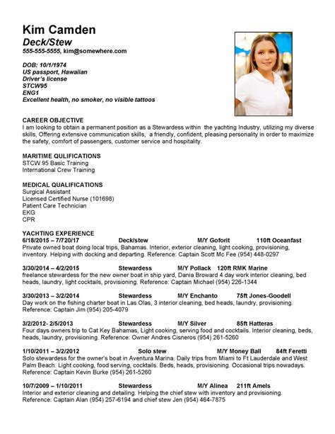 Targeted Resume Example by Super Yacht Resume