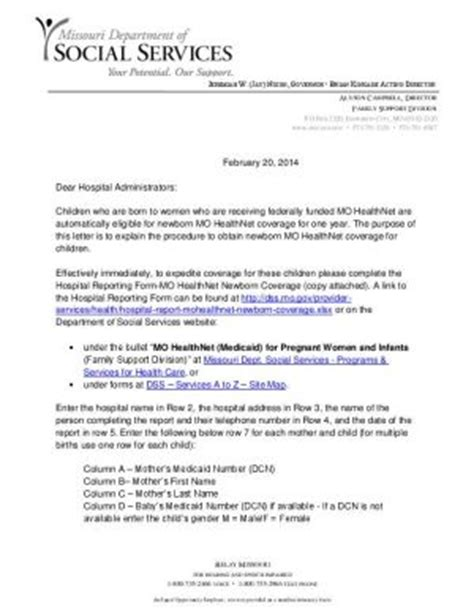 Missouri Service Letter Exle Letter Of Support For Medicaid Sle Templates