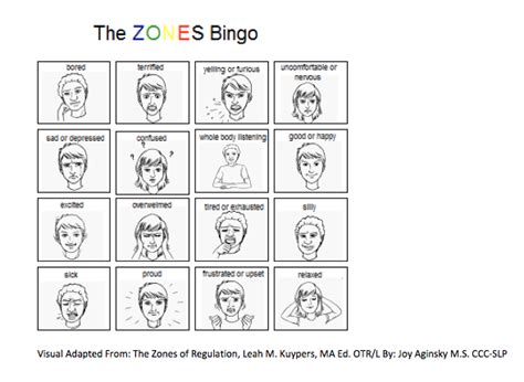 zones of regulation printable signs zones of regulation bingo self regulation sensory