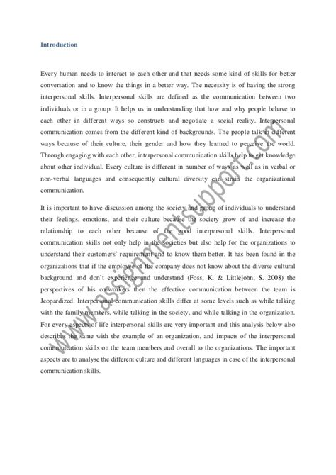Interpersonal Communication Essays by Interpersonal Communication Essay Sle From Assignmentsupport E