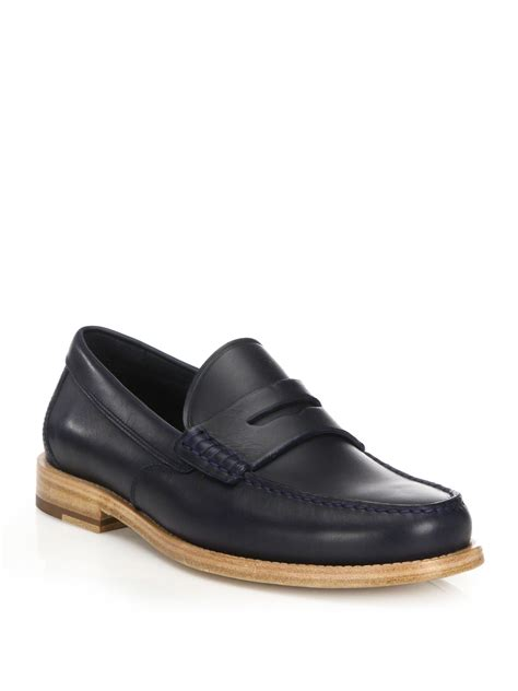mens coach loafers lyst coach manhattan leather loafers in blue for