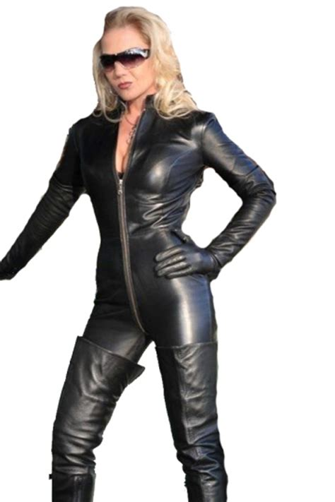 Cacing Buat Louhan black zipper faux leather moto catsuit for