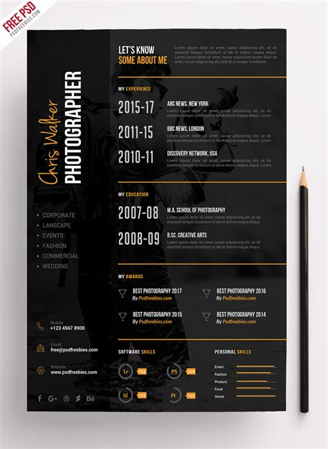 Photographer Resume Template by Photographer Resume Cv Psd Template Psdfreebies