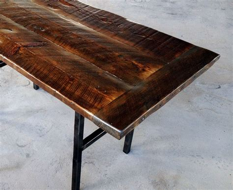 crafted reclaimed wood kitchen table with steel legs