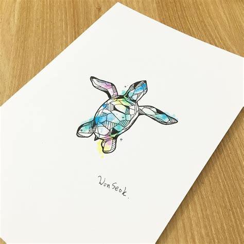 watercolor turtle tattoo watercolor geometric turtle illustration