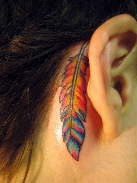 umbrella tattoo behind ear rainbow color feather tattoo on behind the ear