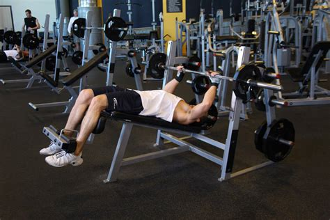 decline bench press without bench decline barbell bench press exercise guide and video