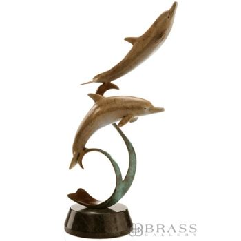 how to make a dolphin ribbon sculpture spi gallery double dolphins on a ribbon statue brass gallery