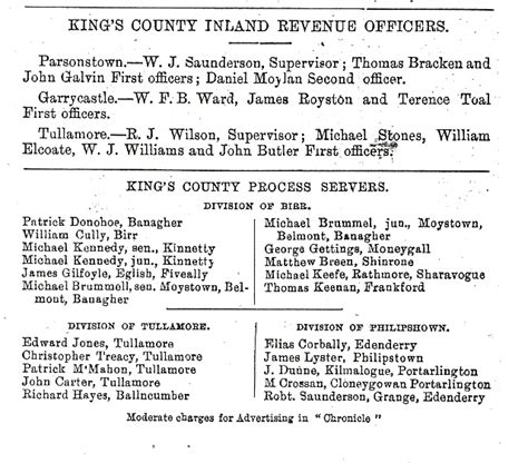 Birth Records King County Inland Revenue Officers County Ireland 1890