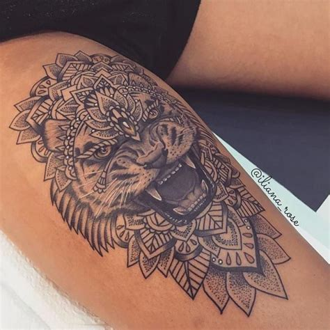 image result for womens thigh tattoos lion tattoos