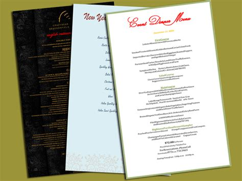 dinner menu template word dinner menu template 5 plus printable menu designs