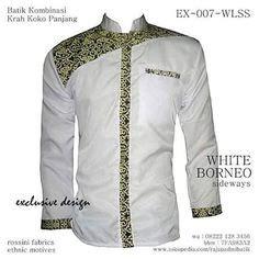 Baju Koko Batik Kemeja Koko Batik Hem Koko Batik 1 batik koko lengan panjang putih batik koko casual kemeja