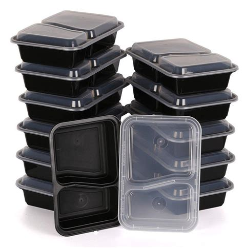 microwave safe food storage containers kitchen mission 2 compartment rectangular