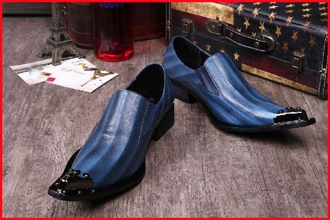 buy luxury handmade s shoes blue metal pointed toe