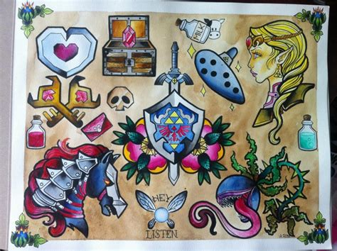 Old School Zelda Tattoo | zelda tattoo designs by aaliy rose in love tattoo
