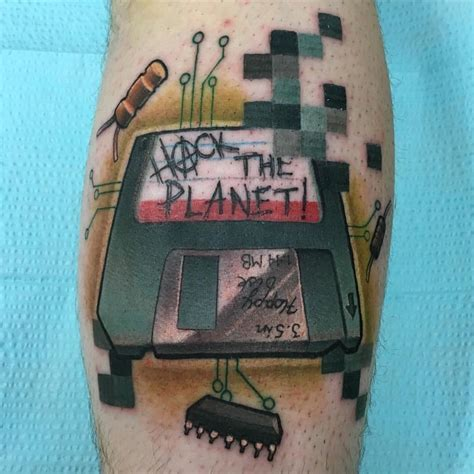 hacker tattoo cledleytattoos hackers hacker floppy disk pixels neo