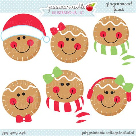 printable gingerbread man face gingerbread faces cute christmas digital clipart commercial