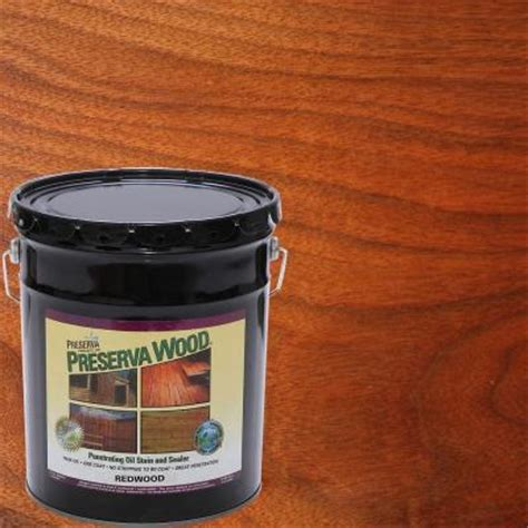 outdoor furniture stain and sealer preserva wood 5 gal based redwood penetrating stain and sealer 40502 the home depot