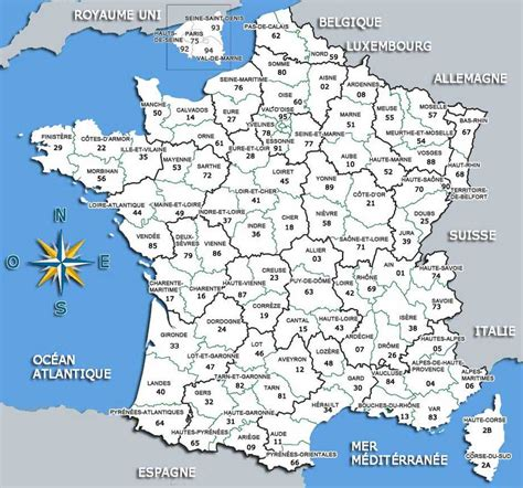 carte de france regions  departements francais
