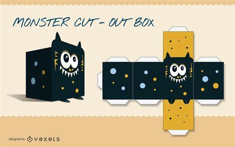 monster paper craft template vector