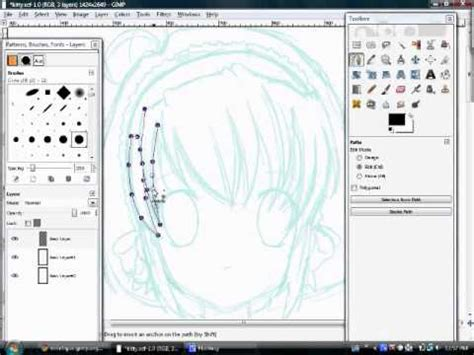 gimp tutorial path tool inking and lineart using the path tool on gimp youtube