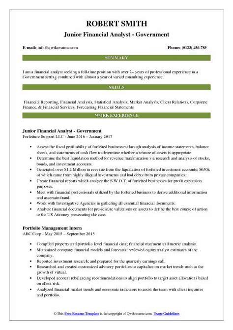 financial analyst sle resume pdf junior financial analyst resume sles qwikresume