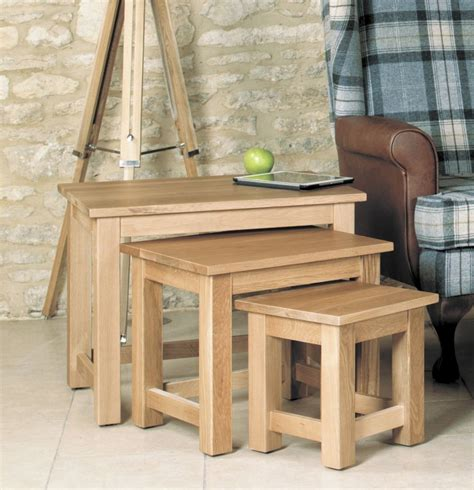 Buy Baumhaus Mobel Oak Nest Of 3 Coffee Tables Online Cfs Uk Nest Of Coffee Tables Oak
