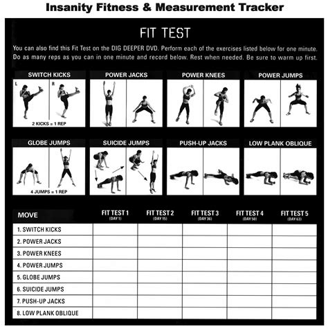 Calendario Youmove Insanity Fit Test Free Insanity Workout