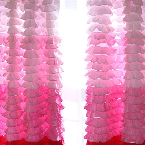 pink ombre curtains ruffle curtain