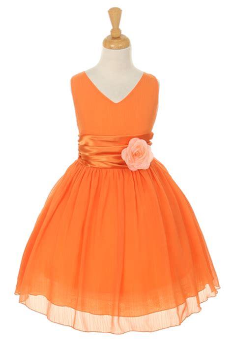 kkor girls dress style  orange crepe dress