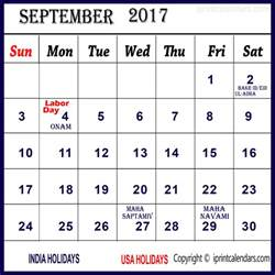 Calendar 2017 September Holidays 2017 Calendar With September Templates Tools