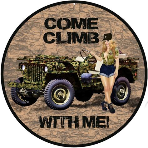 jeep pin up reproduction climb with me jeep pin up sign 14