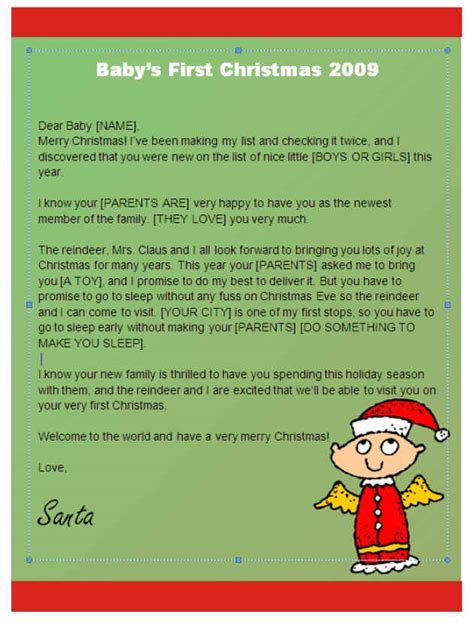 printable baby s first christmas letter from santa babys first christmas letter from santa angel design