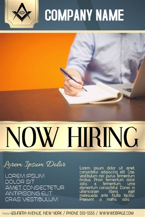 now hiring business company poster template postermywall