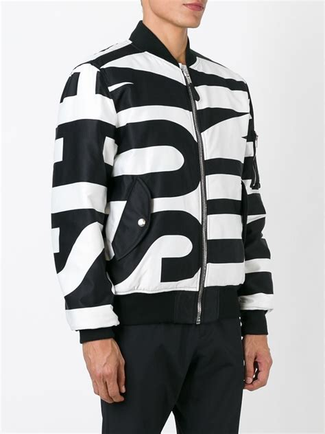 Moschino Bomber Jacket lyst moschino logo print bomber jacket in black for