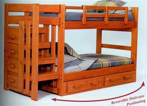 bunk bed with staircase natural finish modern twin over twin bunk bed w staircase