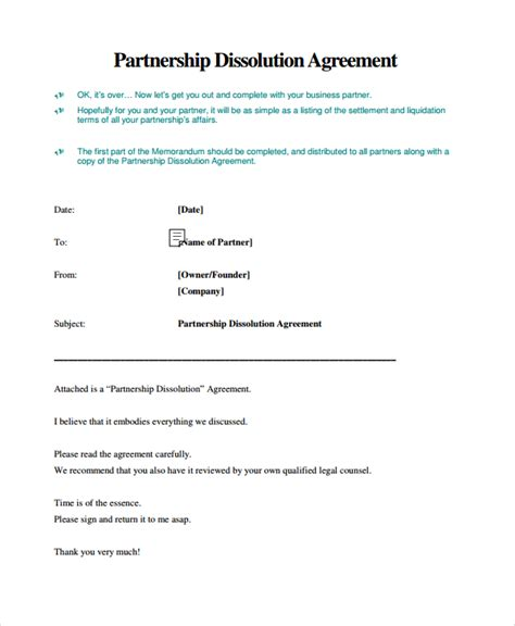 partnership dissolution agreement template sle business dissolution agreement template 6 free