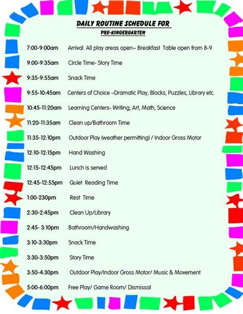 child care daily routine template daily schedule for toddlers daily schedule for preschool