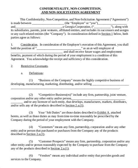 Non Solicitation Agreement Template 10 vendor non compete agreement template free sle