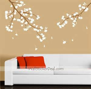lilac cherry blossom branches wall sticker wall stickers