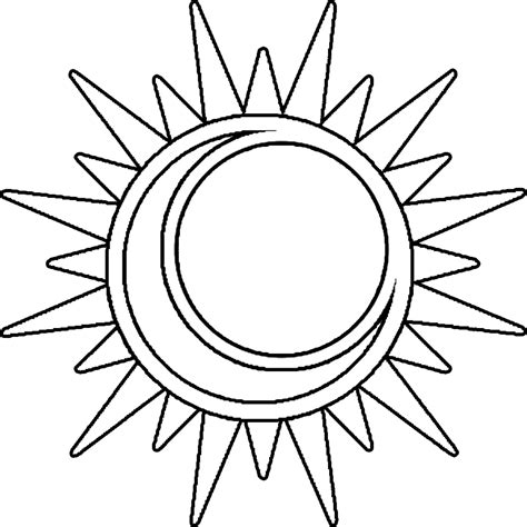 half sun coloring page cool sun moon drawings clipart best
