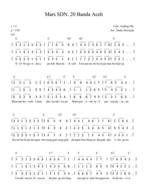 membuat not angka online paduan suara lagu mars sdn 20 banda aceh jasa