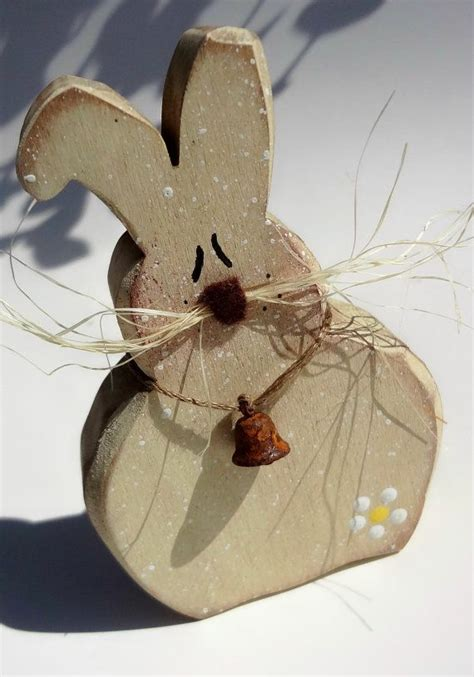 Kaos Bunny And Knit primitive wood easter bunny crafts