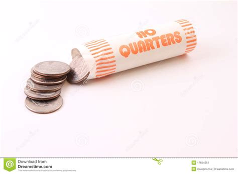 roll of roll of quarters stock image image 17654251