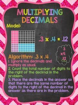 multiplying decimals anchor chart chalkboard style