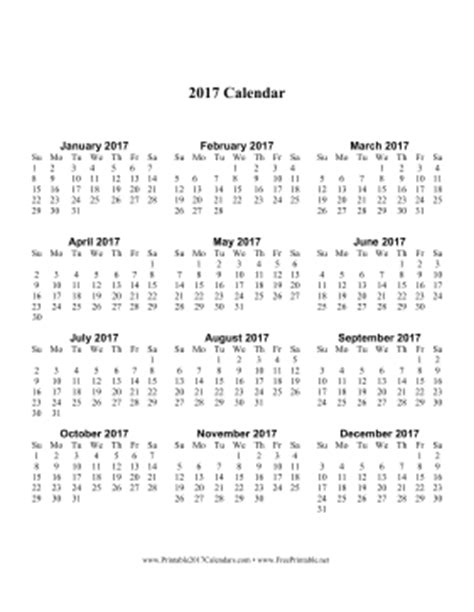 free printable 2017 calendar on one page printable 2017 calendar one page with large print vertical