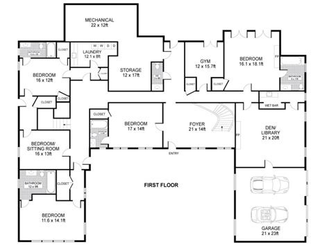 One Level House Plans by U Shaped One Story House U Shaped House Plans Single Story