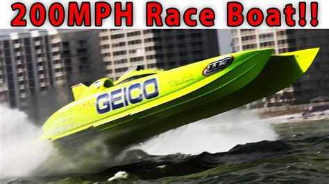 cigarette boat my way 200 mph race boat tour miss geico youtube