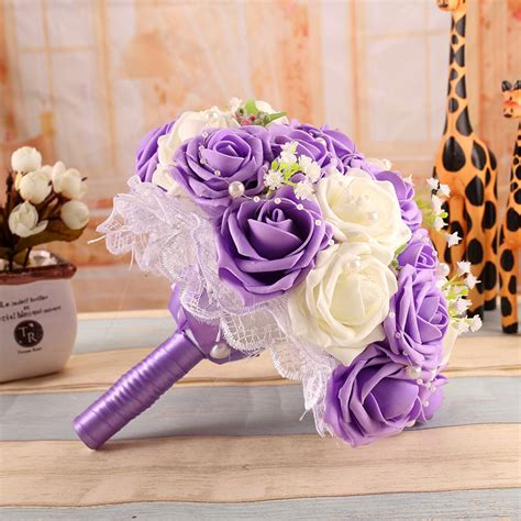 online get cheap purple wedding bouquets aliexpress com